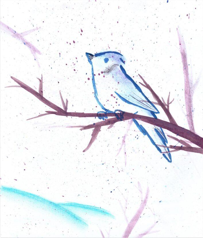 Zimní Zátiší S Ptáčkem Alena Gosťová