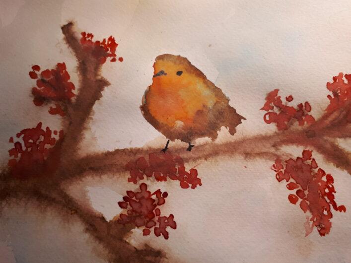 Zimní Zátiší S Ptáčkem Vanda Jičínská